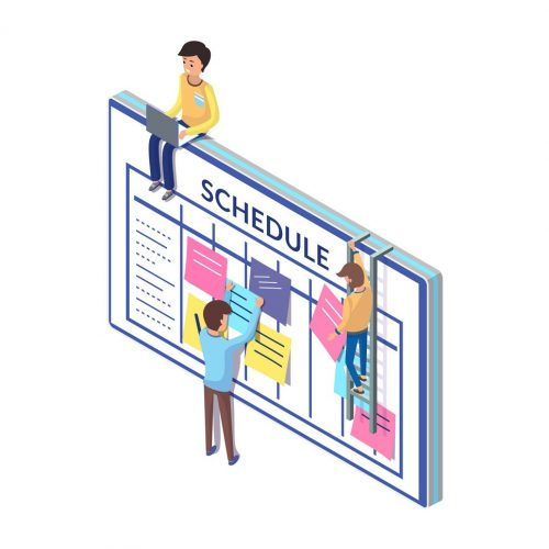 Schedule board and people, working on its updating vector. Organization  of workplace, work tasks and list of important things to be done checklist